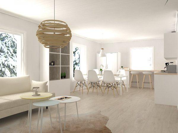 talopaketti - keittiö olohuone