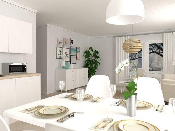 talopaketti - olohuone keittiö